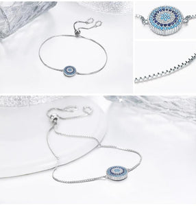 925 Sterling Silver Luxury Round Blue Lucky Eyes Power Bracelet Pave CZ Adjustable Link Chain Bracelets Jewelry