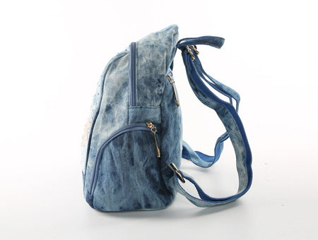 Denim Women Backpack With Embroidery Flower