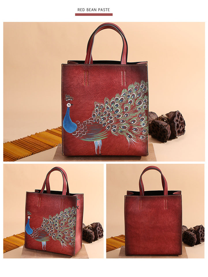 Women's Handbags Genuine Cow Leather With Peacock and Embroidery - GiftWorldStyle - Luxury Jewelry and Accessories