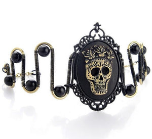 Floral Steampunk Bracelet With Black Skull Charm,Zinc Alloy - GiftWorldStyle - Luxury Jewelry and Accessories
