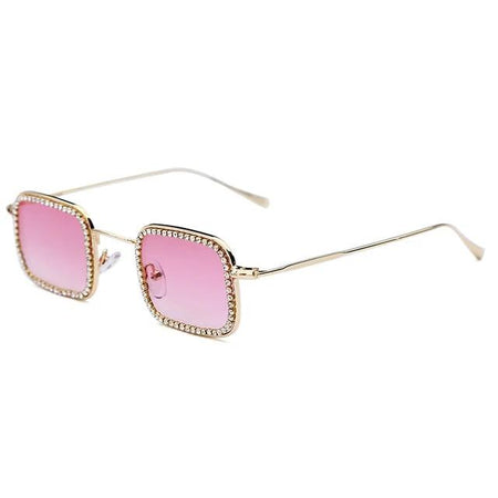 Classic Diamond Polarized Sunglasses Square Women Sun Glasses Vintage Alloy Frame UV400 Eyeglasses