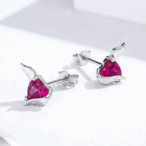 Red Heart Guardian Wing Silver Stud Earring Heart-shape CZ Ear Pin 925 Sterling Silver Wedding Jewelry
