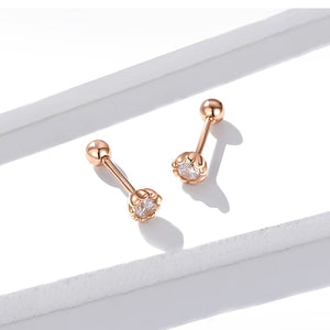 Round Stud Earrings For Women - Clear Cubic Zirconia, 925