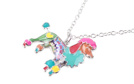 Statement Enamel Metal Poodle Dog Necklace Pendants Collar Chain Accessories Animal Jewelry