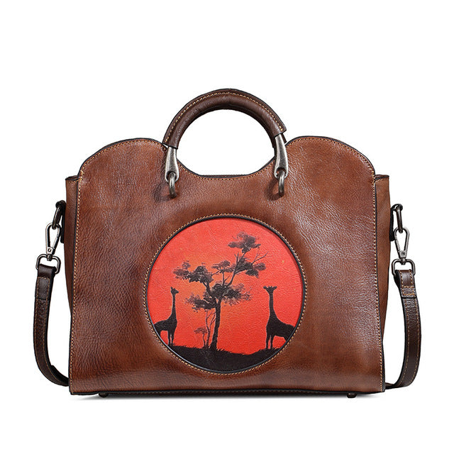 Women's Genuine Leather Bag With Applique- Giraffes - GiftWorldStyle - Luxury Jewelry and Accessories