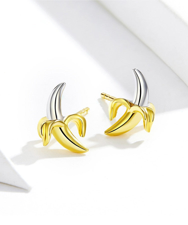 Banana Fruit Stud Earrings For Women - 925 Sterling Silver