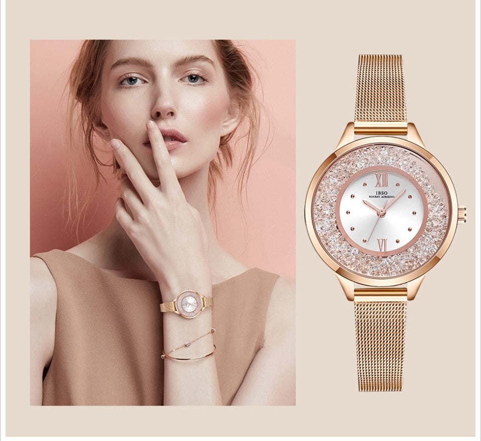 Women's Layered Crystal Pendant Necklace, Bracelet and Mesh Bracelet Watch Set - GiftWorldStyle - Luxury Jewelry and Accessories