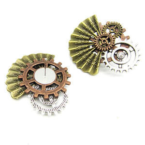 Women`s Steampunk Stud Earrings With Elegant Fan with Gears - GiftWorldStyle - Luxury Jewelry and Accessories
