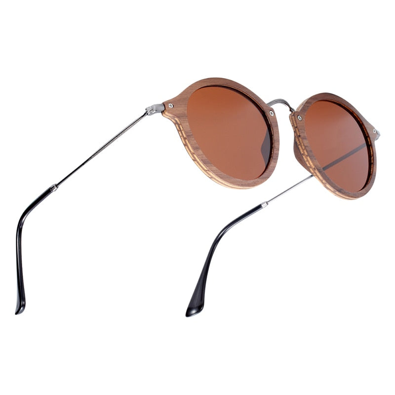 Round Polarized Wooden Sun Glasses For Men,Anti-Reflective,Walnut Color - GiftWorldStyle - Luxury Jewelry and Accessories