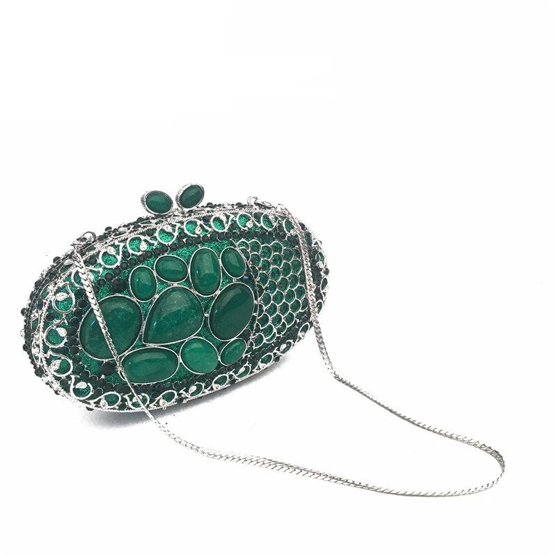 Ladies Delicate Turquosie Gem Evening Clutch Purse Designer Evening Clutches Women Messenger Bag Hand Purse