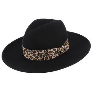 Wool Felt Fedora Hat Wide Brim - Leopard Ribbon