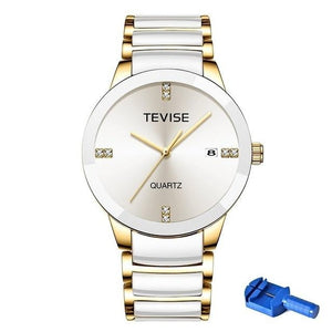 Quartz Ceramic Watch With Bracelet Clasp And Auto Date, Water Resistant - GiftWorldStyle - Luxury Jewelry and Accessories