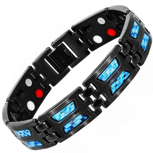 Black Magnetic Bracelet - Blue Carbon Fiber Magnet