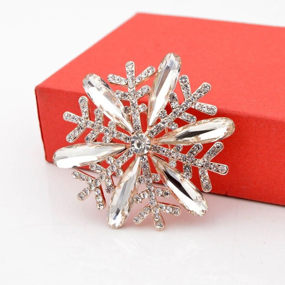 Colors Choose Rhinestone Snowflake Brooches Women Coat Corsage Wedding Pins