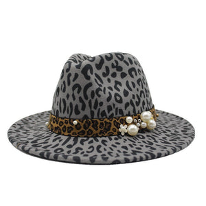 Winter Leopard Print Wool Felt Jazz Fedora Hats Belt Buckle Men Women Wide Brim Trilby Panama Formal Hat