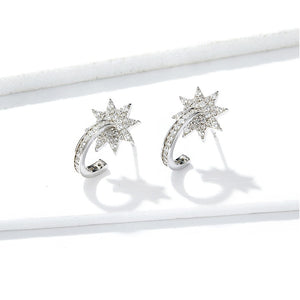 Bright Stars Earrings - Clear CZ, 925 Sterling Silver