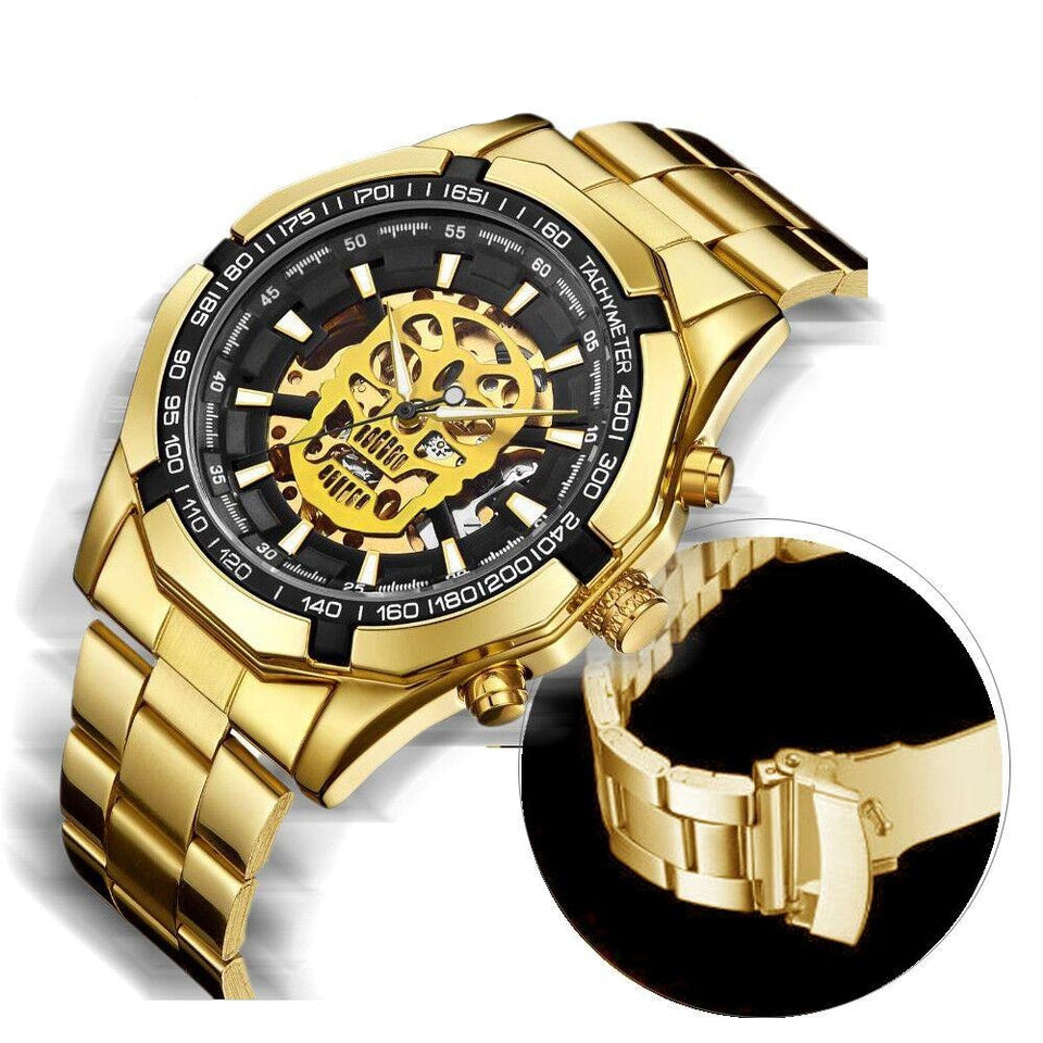Full Steel Mechanical Watch - Shock Resistant, Luminous Hands - GiftWorldStyle - Luxury Jewelry and Accessories
