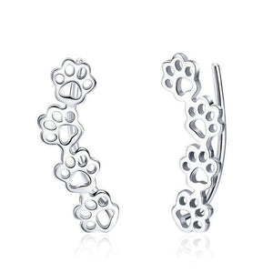 Cat And Dog Footprints Paw Stud Earrings For Women - 925 Sterling Silver