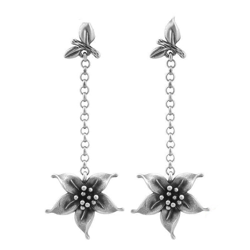 Flower Drop Earrings - 925 Sterling Silver - GiftWorldStyle - Luxury Jewelry and Accessories