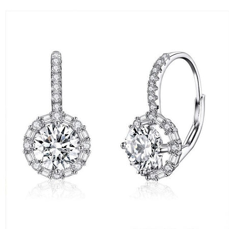 Dazzling Round Zircon Drop Earrings  - 925 Sterling Silver - GiftWorldStyle - Luxury Jewelry and Accessories