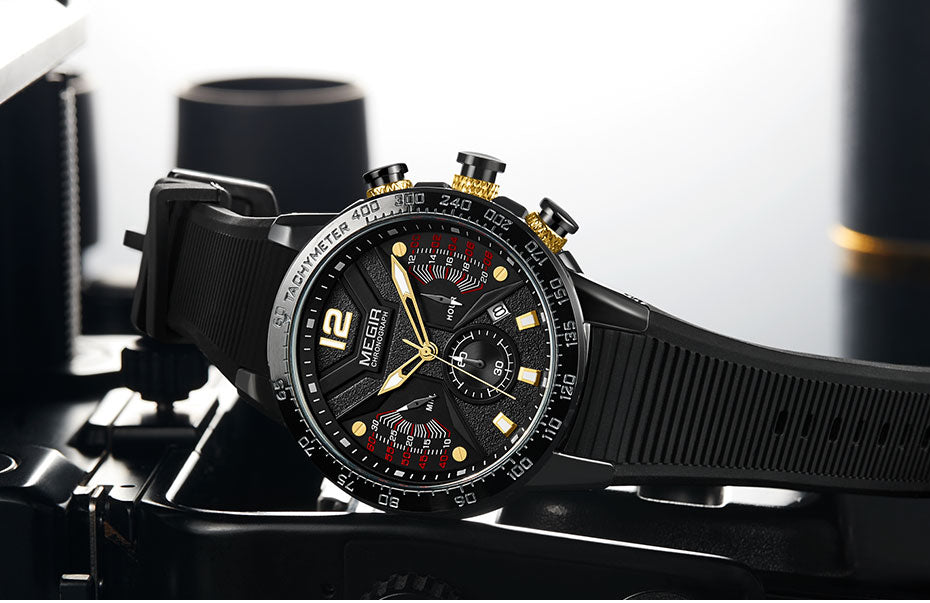 Sports Chronograph Quartz Watch- Waterproof, Luminous Hands - GiftWorldStyle - Luxury Jewelry and Accessories