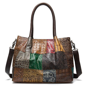 Women's Genuine Leather Bag In Laptop Size, Embossing