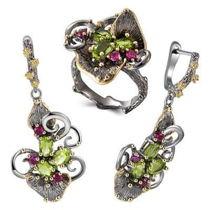Gorgeous Zirconia Flower Rings Earrings Vintage Ethnic Style Two Tone CZ Jewelry