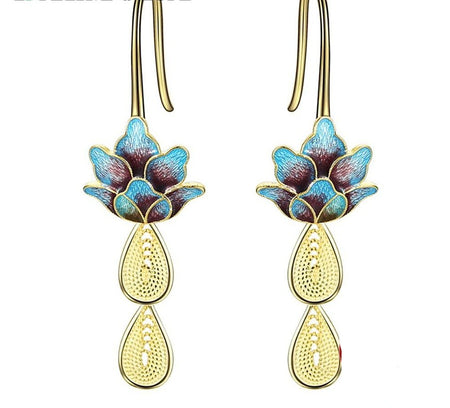 Retro Lotus Drop Earrings - 925 Sterling Silver - GiftWorldStyle - Luxury Jewelry and Accessories
