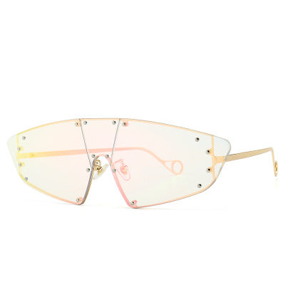 Cat Eye Sunglasses Women One Piece Irregular Mirror Pink Lens Rivet Glasses Vintage UV400