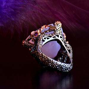 Gothic Rings For Women Triangle Radian Cut Pink Zirconia