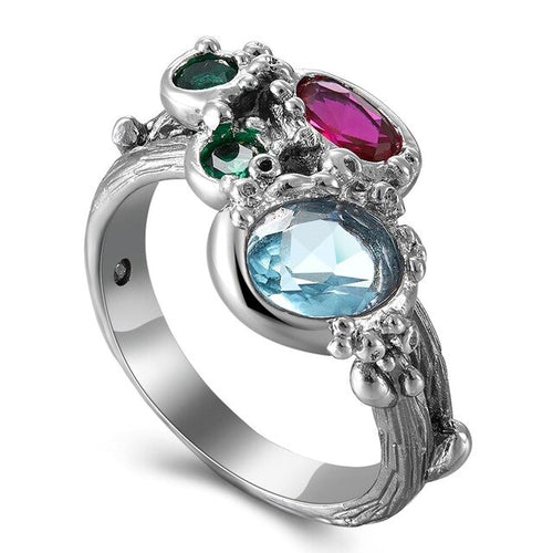 Summer Jewelry Rings for Women Blue Fuchsia Tone Colorful Zircon Gothic Cute Chic Jewel