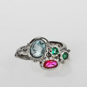 Ring For Women Blue Fuchsia Tone Colorful Zircon Gothic Cute Chic