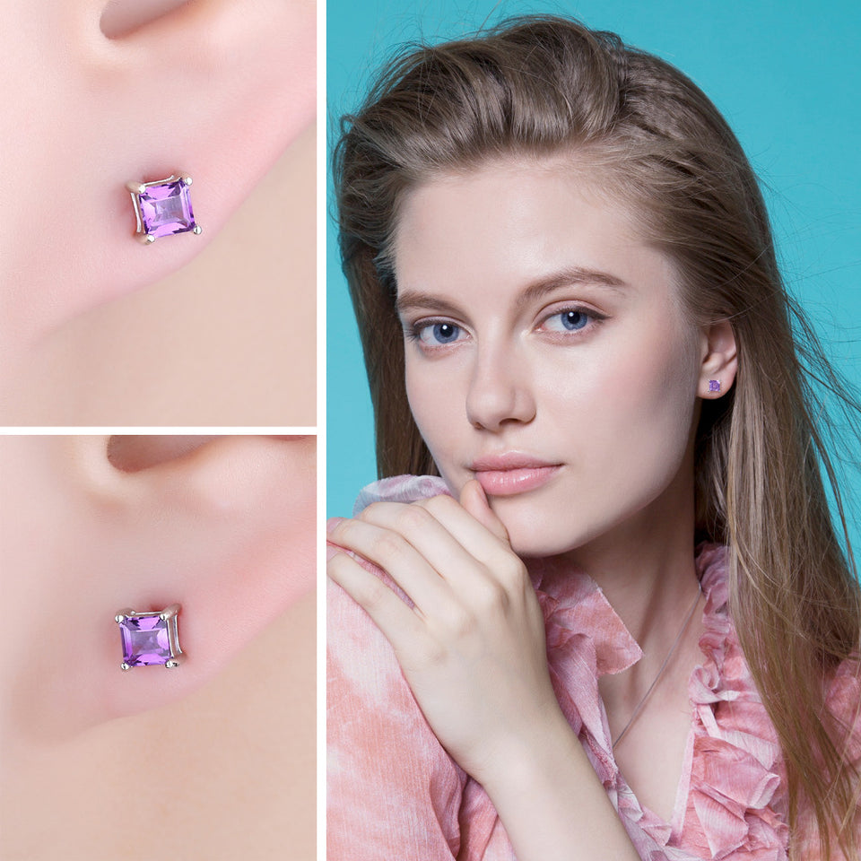 Square Amethyst Stud Earrings - 925 Sterling Silver