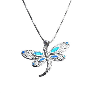 Purple Blue Pink Fire Opal Dragonfly Charms Pendant Necklace Women Silver Filled Beach Jewelry Sweater