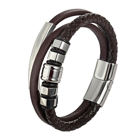 Bracelet Genuine Leather Bracelet Men Stainless Steel Rope Chain Male Jewelry