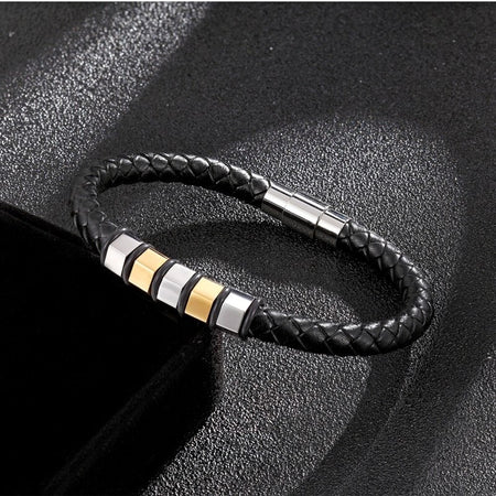 Charm Genuine Leather Bracelet - Stainless Steel