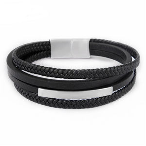 Black Genuine Leather Bracelets Braided Rope Stainless Steel Wristband Magnet Clasps Men Punk Jewelry