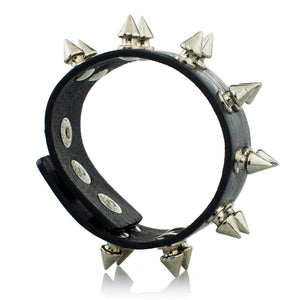 Unisex Rock Cone Stud Spikes Rivet Gothic Punk Wide Cuff Leather HipHop  Bangle Bracelet