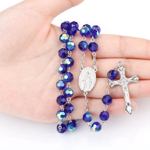 Long Crystal Catholic Rosary With Dark Blue Beads