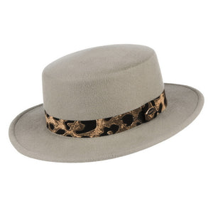 Crown Fedora Wool Boater Hat With Leopard Band