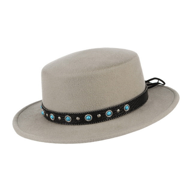 100% Wool Boater Hat For Women Man Flat Crown Fedora With Ethnic Leather Band Brim Church Autumn Winter