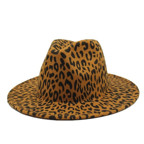 Leopard Printing Fedora Hat With Leisure Big Brim - GiftWorldStyle - Luxury Jewelry and Accessories
