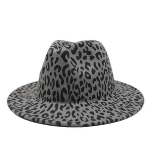 Winter Leopard Printing Jazz Fedoras Men Women Vintage Trilby Cap Leisure Big Brim Felt Panama Hat