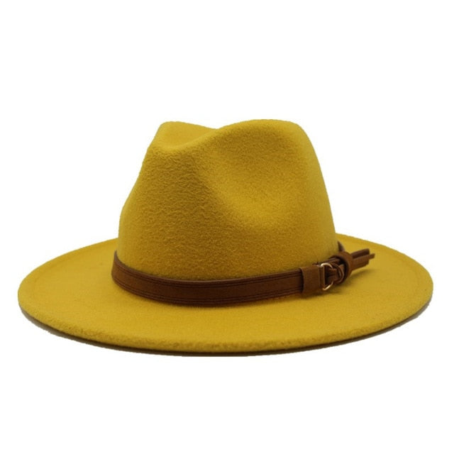 Wide Brim Autumn Fedoras Wool Jazz Hat