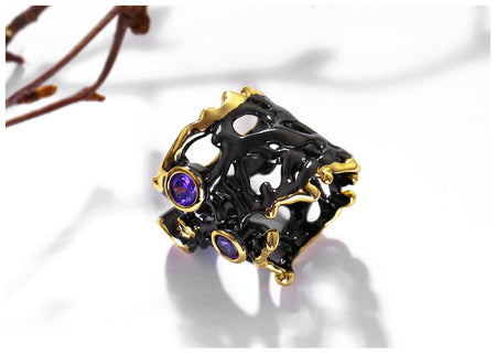 Vintage Ring Purple Red CZ Gothic Black Gold Hollow - GiftWorldStyle - Luxury Jewelry and Accessories