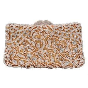 Luxury Crystal Bag Champange Evening Bags Diamond Clutch Bags Pink Wedding Bridal Prom