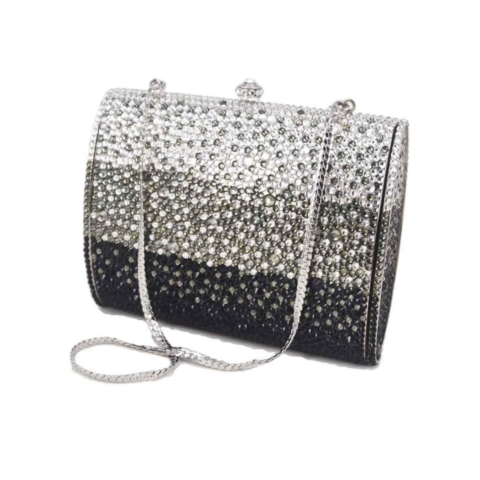 Black White Crystal Evening Bags Women Party Purse Plain Diamond Clutch Bags