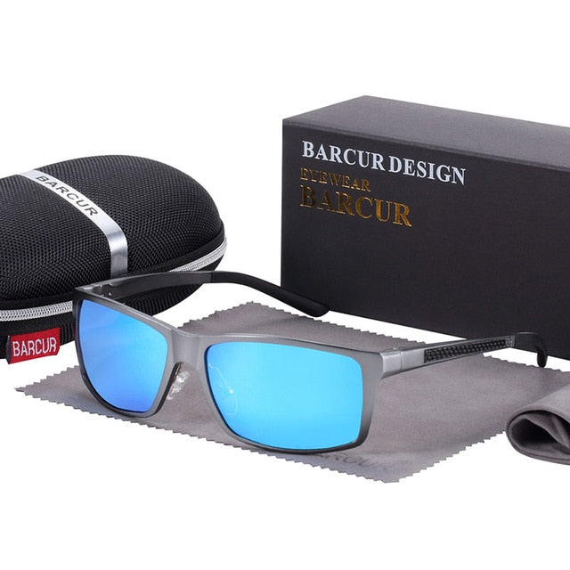 Square Polarized Sunglasses For Men With Aluminium Frame,Anti-Reflective - GiftWorldStyle - Luxury Jewelry and Accessories