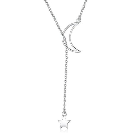 Silver Moon and Star Necklace - 925 Sterling Silver