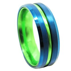 Men's Blue-Green Tungsten Carbide Ring